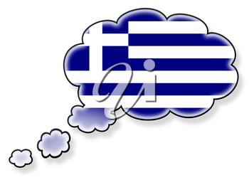 Flag in the cloud, isolated on white background, flag of Greece