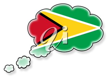 Flag in the cloud, isolated on white background, flag of Guyana