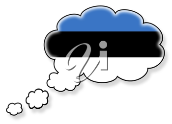Flag in the cloud, isolated on white background, flag of Estonia