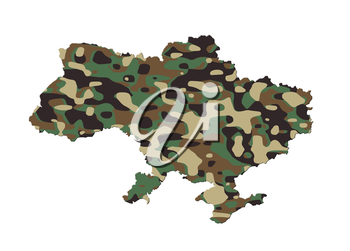 Ukraine - Map, filled with an army camo pattern