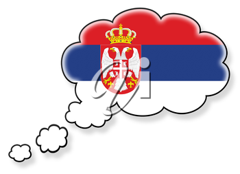 Flag in the cloud, isolated on white background, flag of Serbia