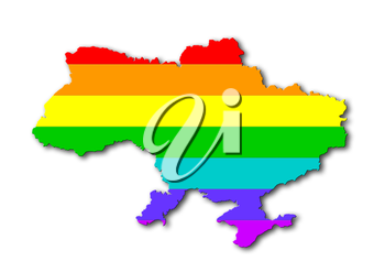 Ukraine - Map, filled with a rainbow flag pattern