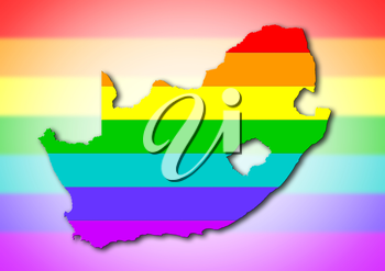 South Africa - Map, filled with a rainbow flag pattern