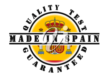 Quality test guaranteed stamp with a national flag inside, Spain