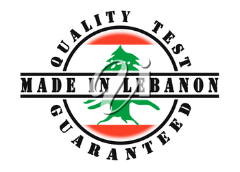 Quality test guaranteed stamp with a national flag inside, Lebanon
