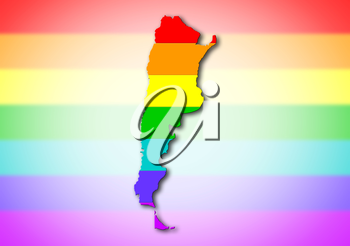 Map, filled with a rainbow flag pattern - Argentina
