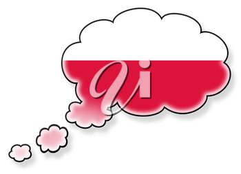 Flag in the cloud, isolated on white background, flag of Poland