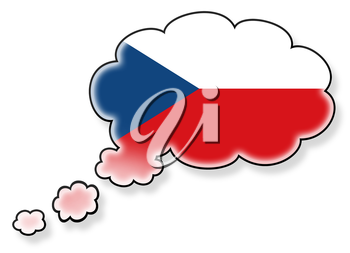 Flag in the cloud, isolated on white background, flag of Czech Republic