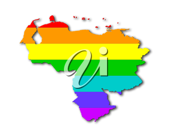 Venezuela - Map, filled with a rainbow flag pattern