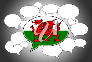 Communication concept - Speech cloud, the voice of Wales