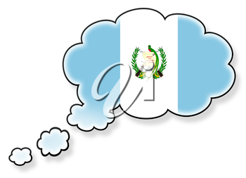 Flag in the cloud, isolated on white background, flag of Guatemala