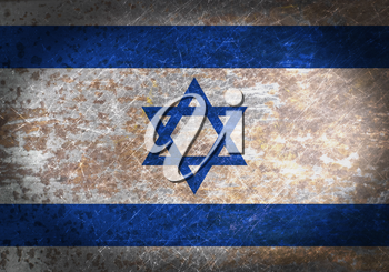 Old rusty metal sign with a flag - Israel