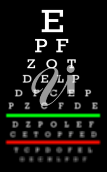 Eyesight concept - Test chart, letters getting smaller - Reasonable eyesight