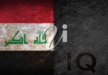 Old rusty metal sign with a flag and country abbreviation - Iraq