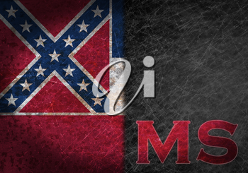 Old rusty metal sign with a flag and US state abbreviation - Mississippi