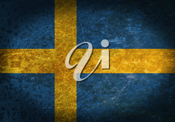 Old rusty metal sign with a flag - Sweden