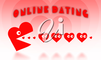 Concept of dating - big Pacman heart hunting small hearts - red