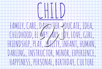 Child word cloud written on a piece of paper