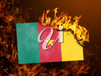 Flag burning - concept of war or crisis - Cameroon