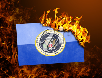Flag burning - concept of war or crisis - Presidential seal