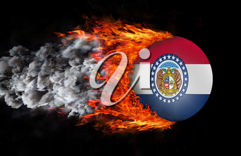 Concept of speed - Flag with a trail of fire and smoke - Missouri