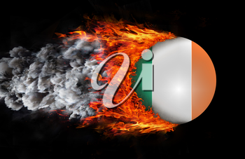 Concept of speed - Flag with a trail of fire and smoke - Ireland