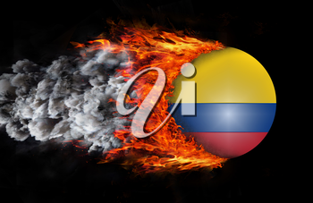Concept of speed - Flag with a trail of fire and smoke - Colombia