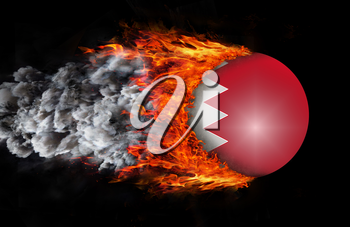 Concept of speed - Flag with a trail of fire and smoke - Bahrain