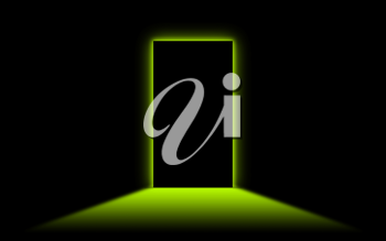 Black door with bright neonlight at the other side - Green
