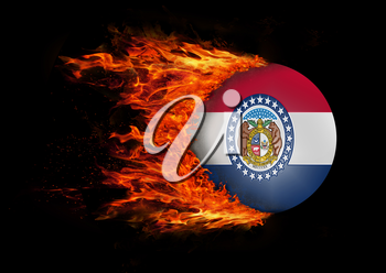 Concept of speed - US state flag with a trail of fire - Missouri