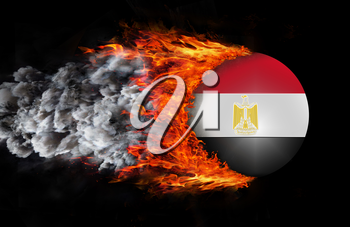 Concept of speed - Flag with a trail of fire and smoke - Egypt