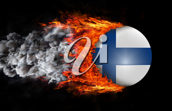 Concept of speed - Flag with a trail of fire and smoke - Finland