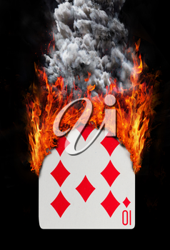 Playing card with fire and smoke, isolated on white - Ten of diamonds