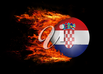Concept of speed - Flag with a trail of fire - Croatia