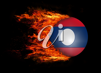 Concept of speed - Flag with a trail of fire - Laos