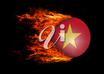 Concept of speed - Flag with a trail of fire - Vietnam