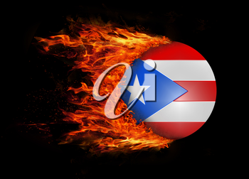 Concept of speed - Flag with a trail of fire - Puerto Rico