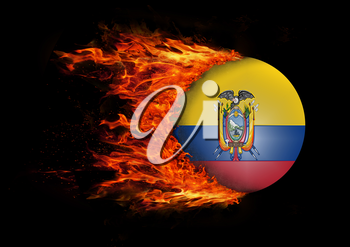 Concept of speed - Flag with a trail of fire - Ecuador
