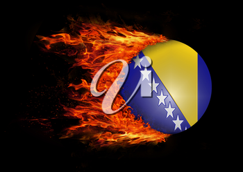 Concept of speed - Flag with a trail of fire - Bosnia