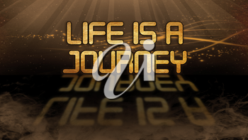 Gold quote with mystic background - Life is a journey