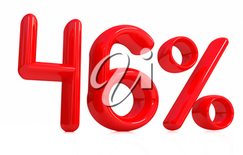 3d red 46 - forty-six percent on a white background