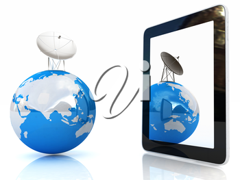 The concept of mobile high-speed Internet and planet earth on a white background