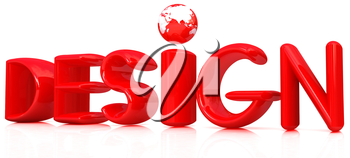 3d red text design on a white background