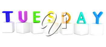 Colorful 3d letters Tuesday on white cubes on a white background