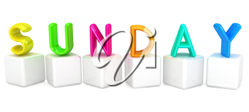 Colorful 3d letters Sunday on white cubes on a white background