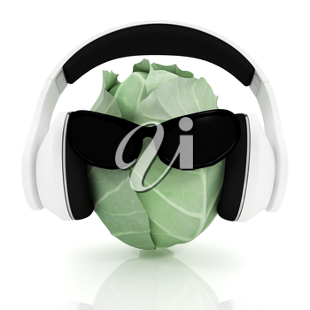 Green cabbage with sun glass and headphones front face on a white background