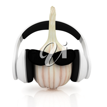 Head of garlic with sun glass and headphones front face on a white background