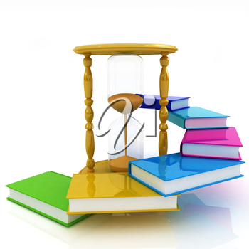 Hourglass and books on a white background