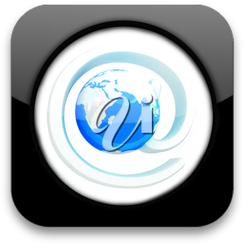 Glossy icon with mail and Earth