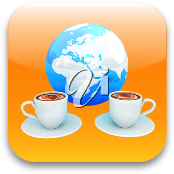Coffee cups icon. Internet concept
